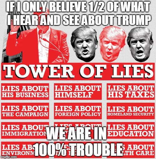 1/2 = 100% | IF I ONLY BELIEVE 1/2 OF WHAT I HEAR AND SEE ABOUT TRUMP WE ARE IN 100% TROUBLE | image tagged in 100,trump,lies,trouble | made w/ Imgflip meme maker