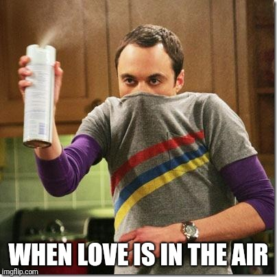 air freshener sheldon cooper | WHEN LOVE IS IN THE AIR | image tagged in air freshener sheldon cooper | made w/ Imgflip meme maker