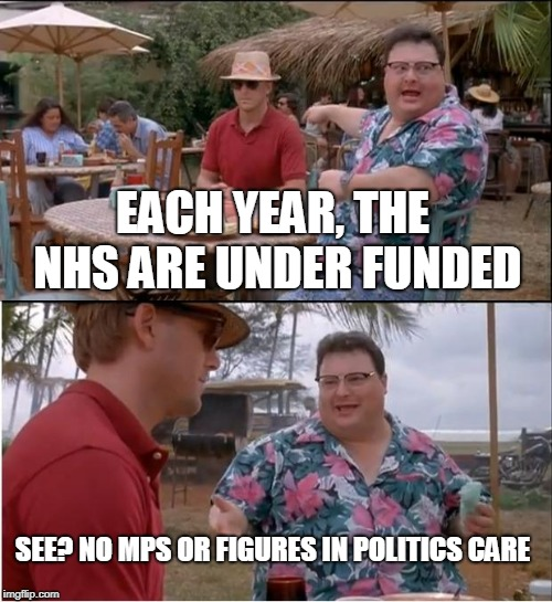 #FundNHS | EACH YEAR, THE NHS ARE UNDER FUNDED SEE? NO MPS OR FIGURES IN POLITICS CARE | image tagged in memes,see nobody cares,politics,nhs,little britain,mp | made w/ Imgflip meme maker