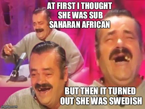 Spanish guy | AT FIRST I THOUGHT SHE WAS SUB SAHARAN AFRICAN BUT THEN IT TURNED OUT SHE WAS SWEDISH | image tagged in spanish guy | made w/ Imgflip meme maker