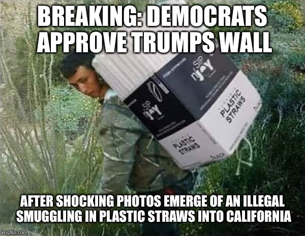 Breaking: Democrats Agree To Build Trump's Wall | BREAKING: DEMOCRATS APPROVE TRUMPS WALL AFTER SHOCKING PHOTOS EMERGE OF AN ILLEGAL SMUGGLING IN PLASTIC STRAWS INTO CALIFORNIA | image tagged in maga,liberal logic,build that wall,donald trump | made w/ Imgflip meme maker
