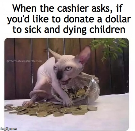 When the cashier asks, if you'd like to donate a dollar to sick and dying children | image tagged in donations,relief,greed,cheap | made w/ Imgflip meme maker