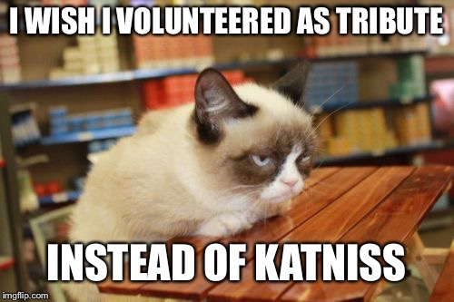 Grumpy Cat Table |  I WISH I VOLUNTEERED AS TRIBUTE; INSTEAD OF KATNISS | image tagged in memes,grumpy cat table,grumpy cat | made w/ Imgflip meme maker