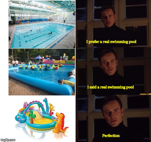 perfection | I prefer a real swimming pool Perfection I said a real swimming pool | image tagged in perfection | made w/ Imgflip meme maker