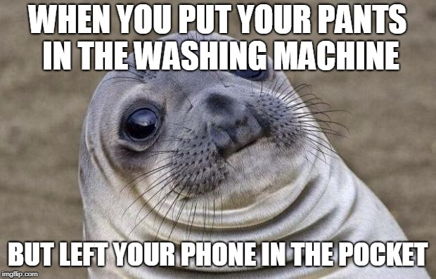 OH. I'll never be able to go to the toilet again | WHEN YOU PUT YOUR PANTS IN THE WASHING MACHINE BUT LEFT YOUR PHONE IN THE POCKET | image tagged in memes,awkward moment sealion,funny,phone,washing machine,pants | made w/ Imgflip meme maker