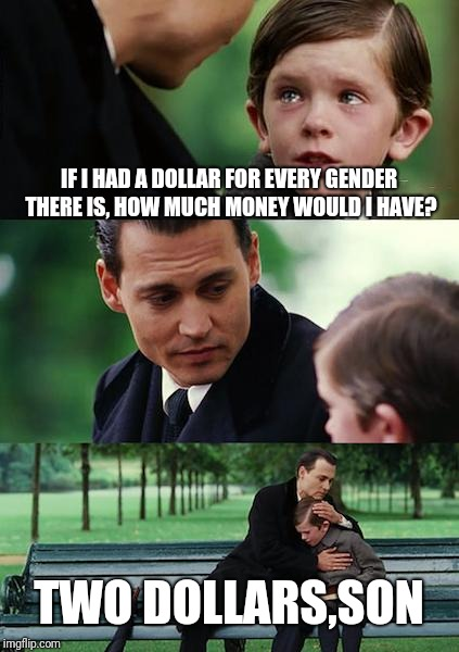 Still only two genders | IF I HAD A DOLLAR FOR EVERY GENDER THERE IS, HOW MUCH MONEY WOULD I HAVE? TWO DOLLARS,SON | image tagged in memes,finding neverland,transgender,gender,funny memes,meme | made w/ Imgflip meme maker