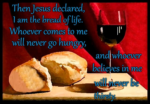 John 6:35  I am the Bread of Life You Will Never Be Hungry or Thirsty |  Then Jesus declared, I am the bread of life. Whoever comes to me; will never go hungry, and whoever; believes in me; will never be; thirsty. | image tagged in bible,holy bible,holy spirit,bible verse,verse,god | made w/ Imgflip meme maker