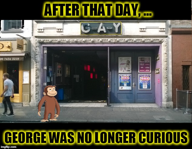 Bi-Curious George | AFTER THAT DAY, ... GEORGE WAS NO LONGER CURIOUS | image tagged in curious george,funny,memes,funny memes,mxm | made w/ Imgflip meme maker