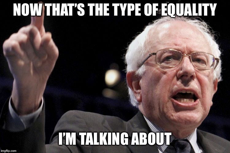 Bernie Sanders | NOW THAT'S THE TYPE OF EQUALITY I'M TALKING ABOUT | image tagged in bernie sanders | made w/ Imgflip meme maker