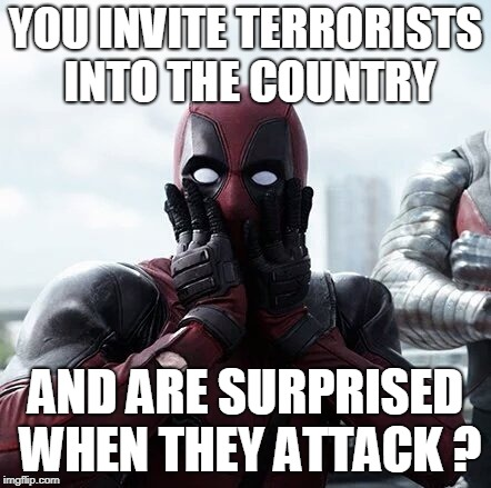 Deadpool Surprised Meme | YOU INVITE TERRORISTS INTO THE COUNTRY AND ARE SURPRISED WHEN THEY ATTACK ? | image tagged in memes,deadpool surprised | made w/ Imgflip meme maker