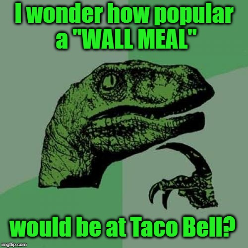 "Philosoraptor Meme | I wonder how popular a ""WALL MEAL"" would be at Taco Bell? 
