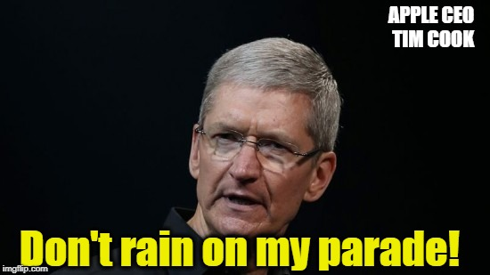 APPLE CEO TIM COOK Don't rain on my parade! | made w/ Imgflip meme maker