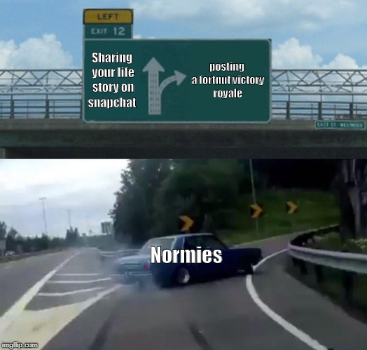 Left Exit 12 Off Ramp Meme | Sharing your life story on snapchat posting a fortnut victory royale Normies | image tagged in memes,left exit 12 off ramp | made w/ Imgflip meme maker