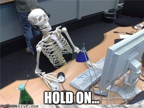 Waiting skeleton | HOLD ON... | image tagged in waiting skeleton | made w/ Imgflip meme maker