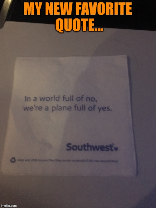 Airplane Napkin Quote | MY NEW FAVORITE QUOTE... | image tagged in airplane,quotes | made w/ Imgflip meme maker