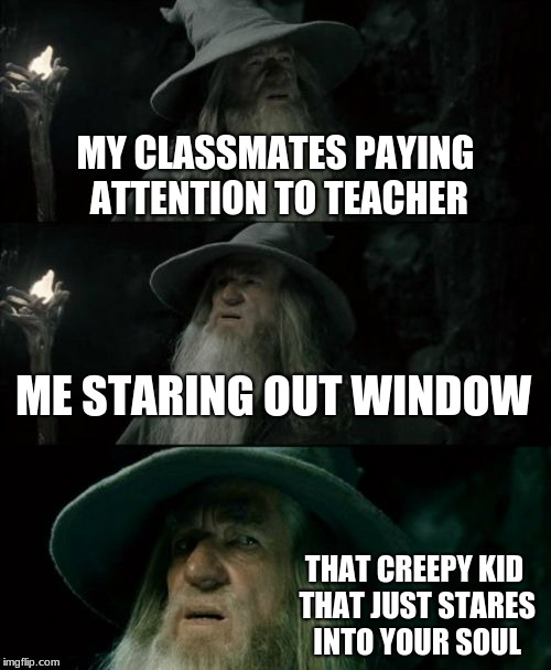 Confused Gandalf | MY CLASSMATES PAYING ATTENTION TO TEACHER ME STARING OUT WINDOW THAT CREEPY KID THAT JUST STARES INTO YOUR SOUL | image tagged in memes,confused gandalf | made w/ Imgflip meme maker