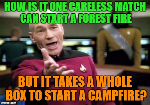 Match this.... | HOW IS IT ONE CARELESS MATCH CAN START A FOREST FIRE BUT IT TAKES A WHOLE BOX TO START A CAMPFIRE? | image tagged in memes,picard wtf,funny,forest fire | made w/ Imgflip meme maker