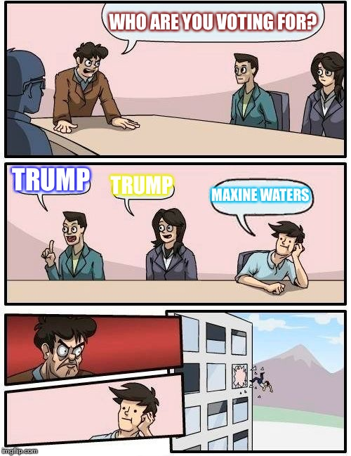 Boardroom Meeting Suggestion Meme | WHO ARE YOU VOTING FOR? TRUMP TRUMP MAXINE WATERS | image tagged in memes,boardroom meeting suggestion | made w/ Imgflip meme maker