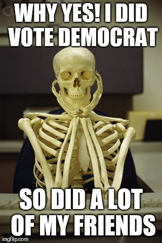 WHY YES! I DID VOTE DEMOCRAT SO DID A LOT OF MY FRIENDS | image tagged in still waiting | made w/ Imgflip meme maker