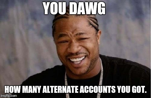 Yo Dawg Heard You Meme | YOU DAWG HOW MANY ALTERNATE ACCOUNTS YOU GOT. | image tagged in memes,yo dawg heard you | made w/ Imgflip meme maker
