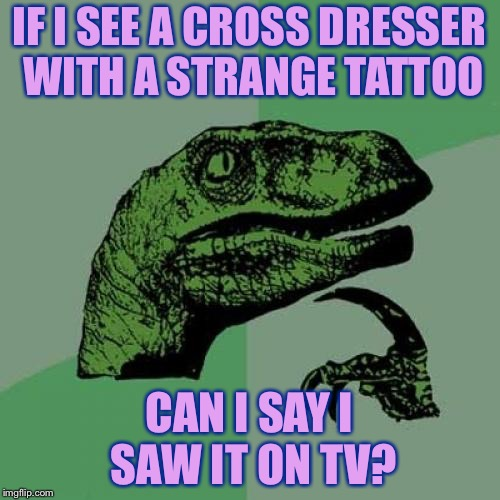 Philosoraptor Meme | IF I SEE A CROSS DRESSER WITH A STRANGE TATTOO CAN I SAY I SAW IT ON TV? | image tagged in memes,philosoraptor | made w/ Imgflip meme maker