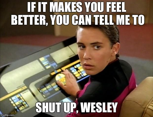 Wesley crusher | IF IT MAKES YOU FEEL BETTER, YOU CAN TELL ME TO SHUT UP, WESLEY | image tagged in wesley crusher | made w/ Imgflip meme maker