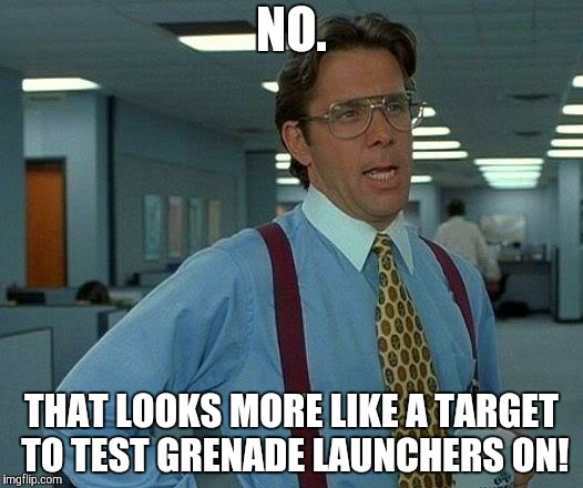 That Would Be Great Meme | NO. THAT LOOKS MORE LIKE A TARGET TO TEST GRENADE LAUNCHERS ON! | image tagged in memes,that would be great | made w/ Imgflip meme maker