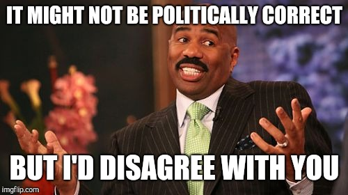 Steve Harvey Meme | IT MIGHT NOT BE POLITICALLY CORRECT BUT I'D DISAGREE WITH YOU | image tagged in memes,steve harvey | made w/ Imgflip meme maker