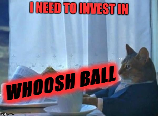 Investment cat newspaper | I NEED TO INVEST IN WHOOSH BALL | image tagged in investment cat newspaper | made w/ Imgflip meme maker