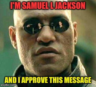 What if i told you | I'M SAMUEL L JACKSON AND I APPROVE THIS MESSAGE | image tagged in what if i told you | made w/ Imgflip meme maker