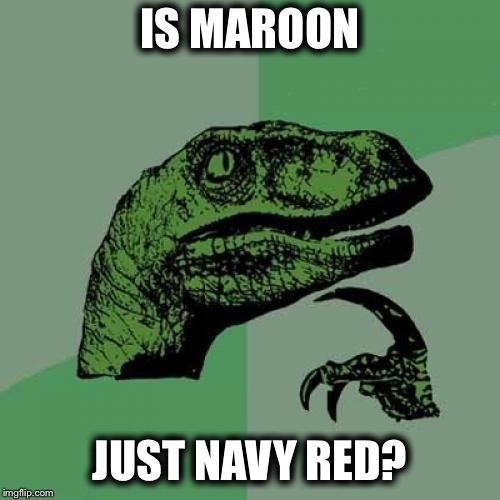 Philosoraptor Meme |  IS MAROON; JUST NAVY RED? | image tagged in memes,philosoraptor | made w/ Imgflip meme maker