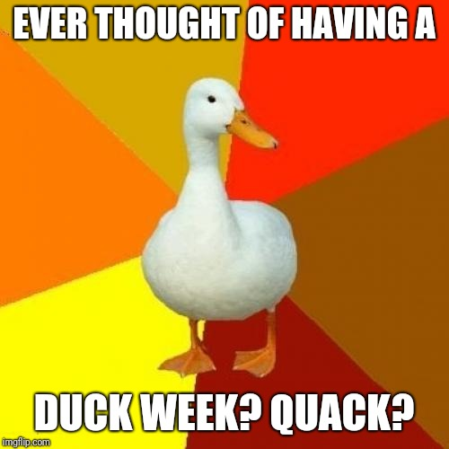 Tech Impaired Duck | EVER THOUGHT OF HAVING A DUCK WEEK? QUACK? | image tagged in memes,tech impaired duck | made w/ Imgflip meme maker