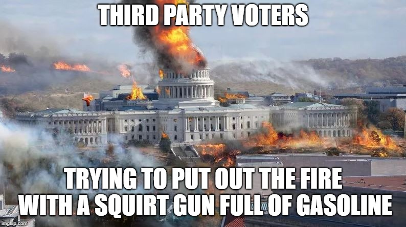 THIRD PARTY VOTERS TRYING TO PUT OUT THE FIRE WITH A SQUIRT GUN FULL OF GASOLINE | image tagged in green party,third party | made w/ Imgflip meme maker