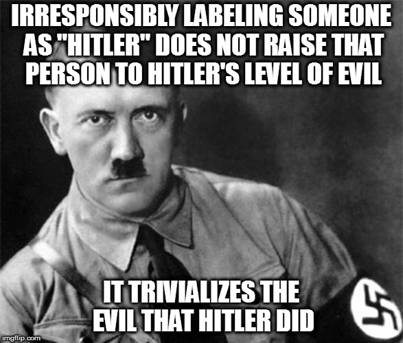 "But I'm sure holocaust victims would appreciate the idea that being disagreed with is equal to having your skin melted off | IRRESPONSIBLY LABELING SOMEONE AS ""HITLER"" DOES NOT RAISE THAT PERSON TO HITLER'S LEVEL OF EVIL IT TRIVIALIZES THE EVIL THAT HITLER DID 