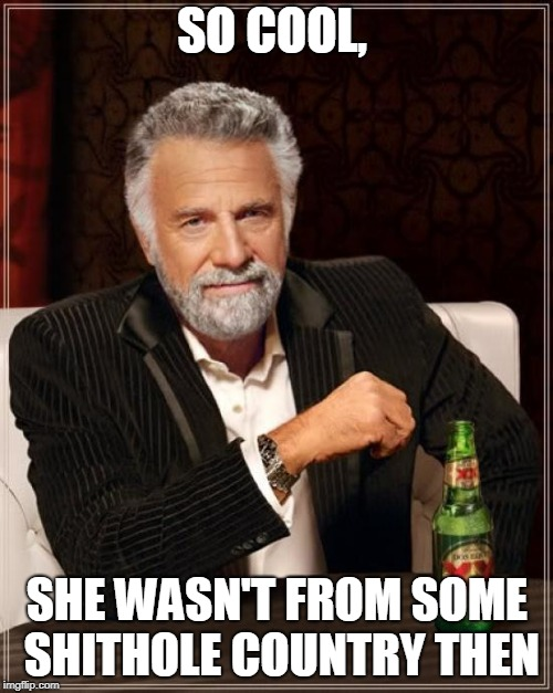 The Most Interesting Man In The World Meme | SO COOL, SHE WASN'T FROM SOME SHITHOLE COUNTRY THEN | image tagged in memes,the most interesting man in the world | made w/ Imgflip meme maker