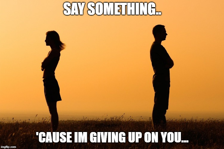 SAY SOMETHING.. 'CAUSE IM GIVING UP ON YOU... | image tagged in love,stay,i want you | made w/ Imgflip meme maker