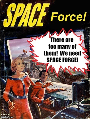SPACE FORCE: Coming to the US by 2020! | There are too many of them!  We need SPACE FORCE! | image tagged in space force,pilp art | made w/ Imgflip meme maker