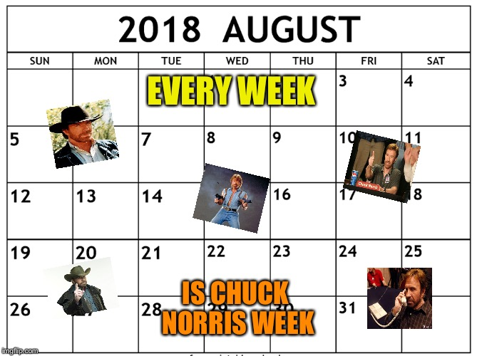 Who disagrees? | EVERY WEEK IS CHUCK NORRIS WEEK | image tagged in sir_unknown,powermetalhead,memes,chuck norris week,chuck norris,funny | made w/ Imgflip meme maker