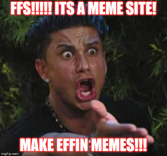 Jersey shore  | FFS!!!!! ITS A MEME SITE! MAKE EFFIN MEMES!!! | image tagged in jersey shore | made w/ Imgflip meme maker