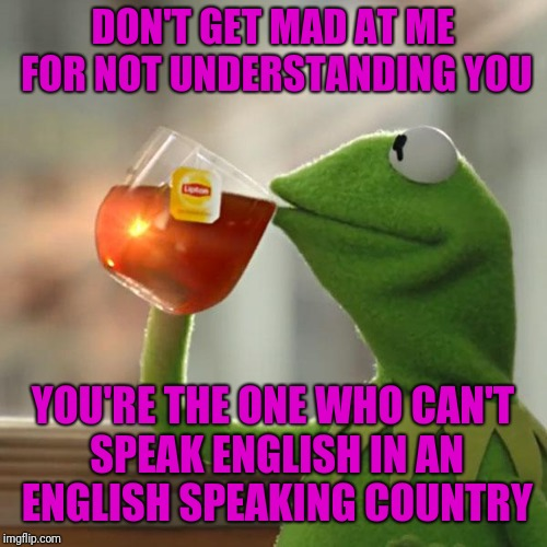 But Thats None Of My Business Meme | DON'T GET MAD AT ME FOR NOT UNDERSTANDING YOU YOU'RE THE ONE WHO CAN'T SPEAK ENGLISH IN AN ENGLISH SPEAKING COUNTRY | image tagged in memes,but thats none of my business,kermit the frog | made w/ Imgflip meme maker