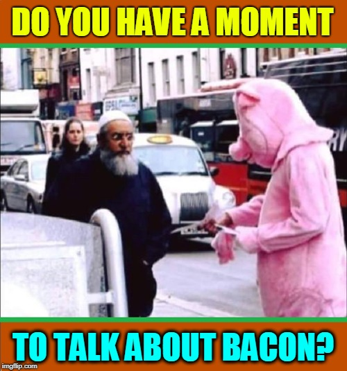 Pardon Me, Sir... | DO YOU HAVE A MOMENT TO TALK ABOUT BACON? | image tagged in vince vance,pig in costume,muslim being offered pork,bacon,muslims,haram | made w/ Imgflip meme maker