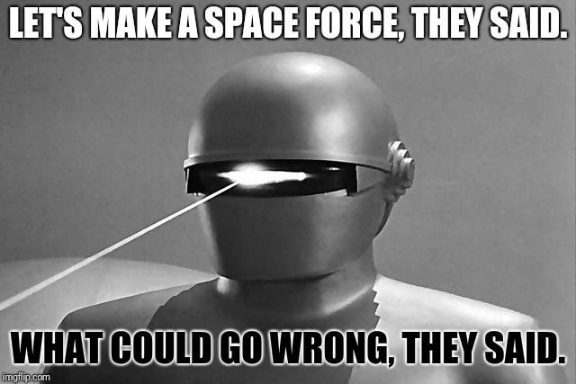 Gort | LET'S MAKE A SPACE FORCE, THEY SAID. WHAT COULD GO WRONG, THEY SAID. | image tagged in gort | made w/ Imgflip meme maker