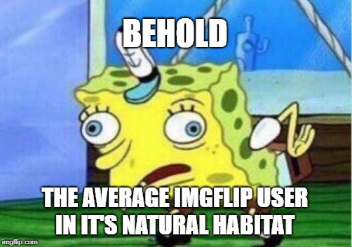 Fun Fact #3 | BEHOLD THE AVERAGE IMGFLIP USER IN IT'S NATURAL HABITAT | image tagged in memes,mocking spongebob,imgflip users,imgflip,nature,imgflip unite | made w/ Imgflip meme maker