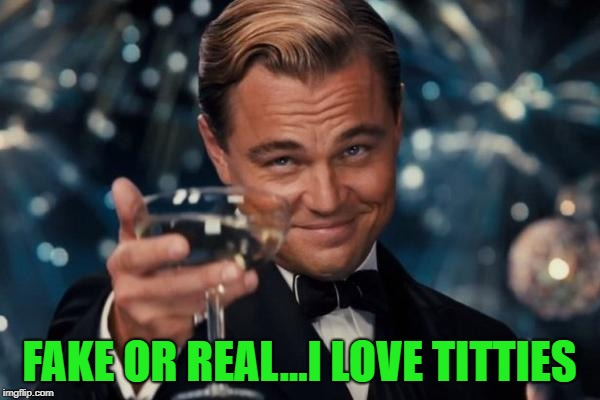 Leonardo Dicaprio Cheers Meme | FAKE OR REAL...I LOVE TITTIES | image tagged in memes,leonardo dicaprio cheers | made w/ Imgflip meme maker
