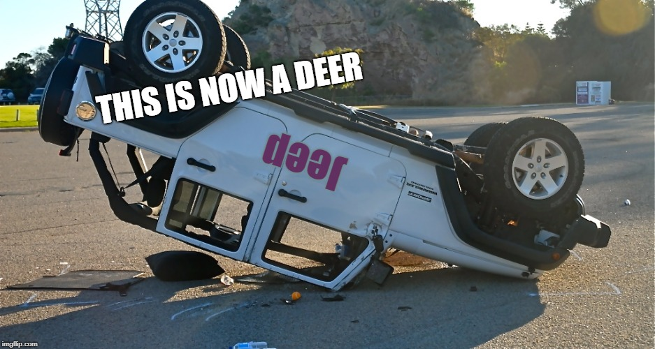 Always read the label | Jeep THIS IS NOW A DEER | image tagged in pun,matrix transformations,bad driving,not this terrain apparently | made w/ Imgflip meme maker