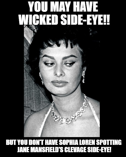 A Women's Scorn | YOU MAY HAVE WICKED SIDE-EYE!! BUT YOU DON'T HAVE SOPHIA LOREN SPOTTING JANE MANSFIELD'S CLEVAGE SIDE-EYE! | image tagged in sophia loren,jane mansflield,funny meme,boobs,clevage,side-eye | made w/ Imgflip meme maker