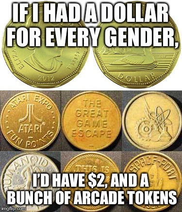loonies and tokens | IF I HAD A DOLLAR FOR EVERY GENDER, I'D HAVE $2, AND A BUNCH OF ARCADE TOKENS | image tagged in money | made w/ Imgflip meme maker