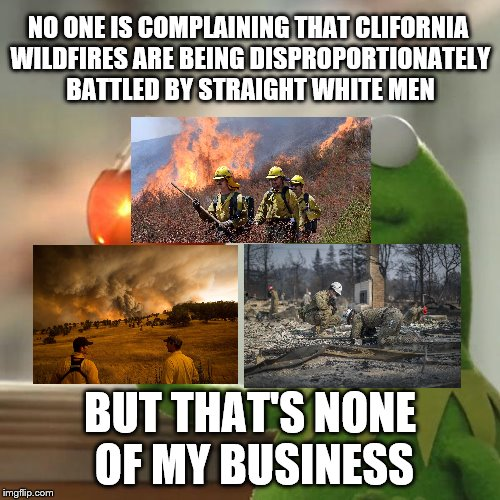 Thank you firefighters and emergency personnel! Doesn't matter you race or gender, you are all our heroes! | NO ONE IS COMPLAINING THAT CLIFORNIA WILDFIRES ARE BEING DISPROPORTIONATELY BATTLED BY STRAIGHT WHITE MEN BUT THAT'S NONE OF MY BUSINESS | image tagged in ca wildfires,firemen,toxic masculinity | made w/ Imgflip meme maker