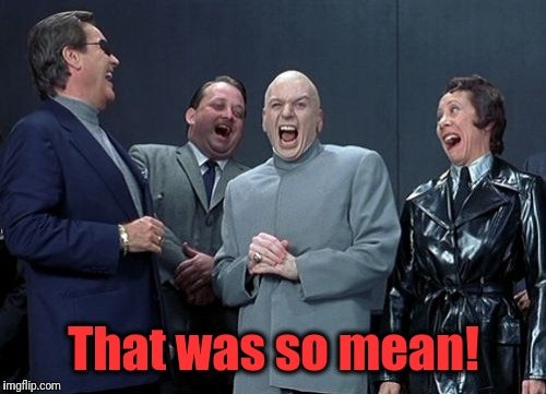 Laughing Villains Meme | That was so mean! | image tagged in memes,laughing villains | made w/ Imgflip meme maker