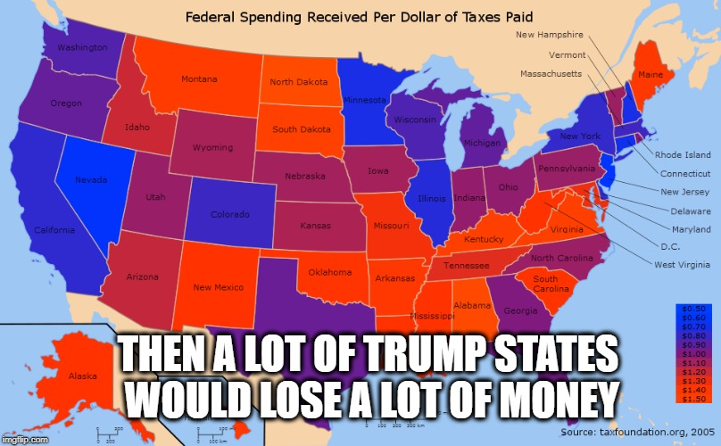 THEN A LOT OF TRUMP STATES WOULD LOSE A LOT OF MONEY | made w/ Imgflip meme maker